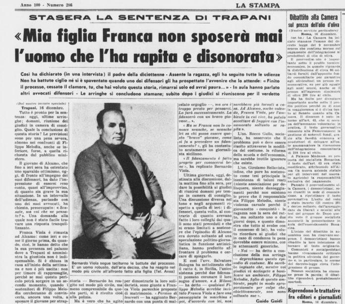 8 marzo: la testimonianza di Franca Viola