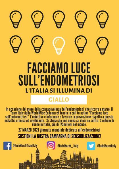 L'ITALIA SI ILLUMINA DI GIALLO: CAMPAGNA DI PREVENZIONE DELL'ENDOMETRIOSI