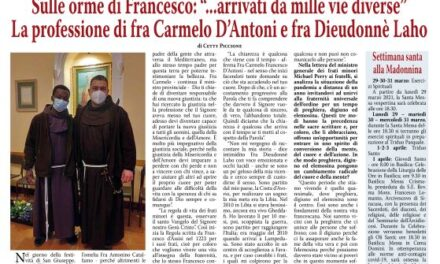 """Sulle orme di san Francesco: """"… arrivati da mille vie diverse"""" – La professione di fra Carmelo D'Antoni e fra Dieudonnè Laho"""
